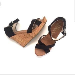 Toms Criss Cross Cork Wedge Heel Sandal